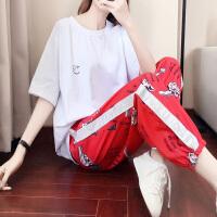 运动套装女夏2019新款大码宽松气质韩版休闲时尚两件套夏天运动服 白色T恤红色印花裤子套装