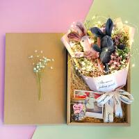 情人节礼物满天星干花花束礼盒勿忘玫瑰香皂花生日礼盒教师节礼物 情侣兔组合+ 香包+小彩灯 干花包