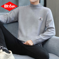 Lee Cooper半高领毛衣男2019秋季新款时尚刺绣针织衫修身帅气男士毛衣