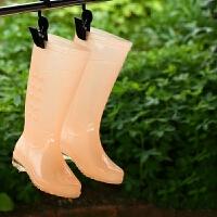 雨靴高筒防滑防水时尚水鞋水靴成人雨鞋女透明糖果时尚防水胶鞋女