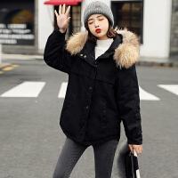 冬天连帽大毛领短款棉衣女外套韩版潮流冬工装小棉袄真毛