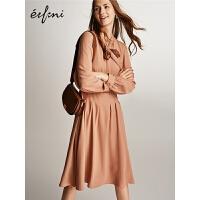 2件2.7折价:241 伊芙丽2019春装新款韩版高腰系带复古长袖有女人味的雪纺连衣裙女