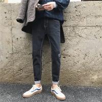 港仔秋冬韩版修身款牛仔裤男士青年弹力牛仔长裤小脚显瘦休闲裤子