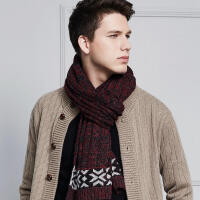 百搭简约秋冬保暖羊毛针织情侣款男士围巾学生韩版年轻人毛线围脖