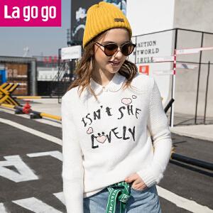 拉谷谷lagogo冬季新款女装上衣长袖毛衣秋冬套头针织衫