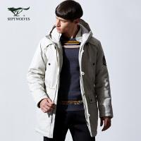 七匹狼运动棉服 男士冬季新款时尚休闲户外中长款加厚棉服男