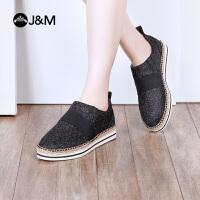 【低价秒杀】jm快乐玛丽春季新款平底休闲套脚松糕平底一脚蹬女鞋子