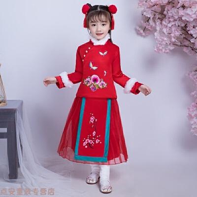 儿童汉服旗袍冬季加厚加绒中国风女童拜年服女宝宝唐装新年装喜庆