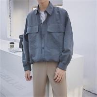 港风日系风大口袋长袖衬衫男士宽松休闲文艺纯色衬衣打底衫潮