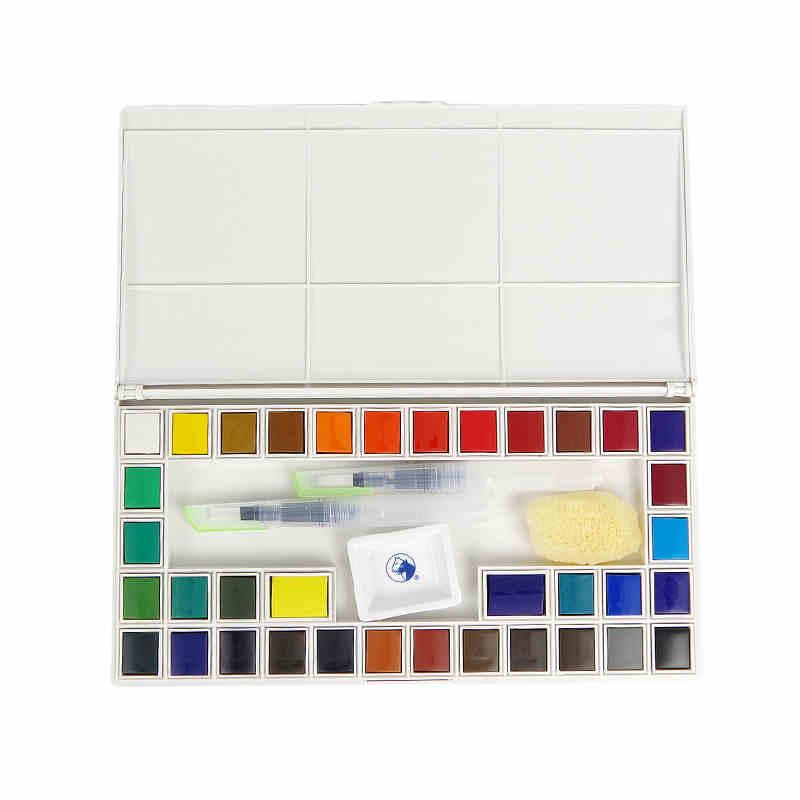 马利固体水彩颜料24色套装初学者18/36色手绘水彩送自来水笔 单盒(送调色碟、天然海绵、自来水笔)