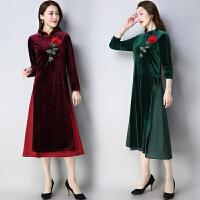 假两件连衣裙2018春装新款民族风女装金丝绒长款长袖立领修身裙子