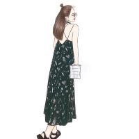 后背交叉羽毛V领吊带裙荷叶边碎花雪纺连衣裙女夏显瘦长裙鱼尾裙 图片色