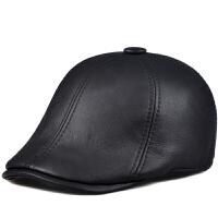 毛一体棒球帽帽子真皮帽前进帽体闲鸭舌帽男士