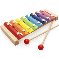 幼儿童婴儿手敲琴8个月宝宝音乐启蒙玩具1-2-3周岁八音小木琴 榉木8音琴(送扭扭虫)
