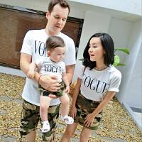 亲子装夏装男女宝宝字母T恤婴儿童休闲上衣潮