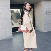 2018秋冬季韩版毛呢外套女中长款宽松呢子大衣显瘦羊毛呢外套 X