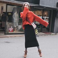 【针织毛衣+半身裙】2019新款网红高领毛衣加裙子两件套装女针织毛线裙韩版宽松秋冬季