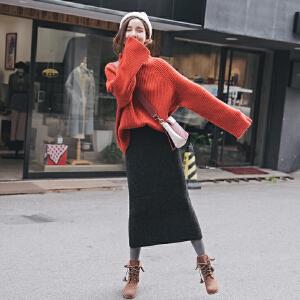 安妮纯【针织毛衣+半身裙】2020新款网红高领毛衣加裙子两件套装女针织毛线裙韩版宽松秋冬季
