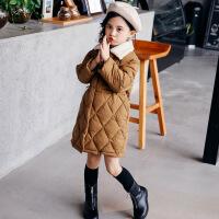 女童棉衣冬装2018新款韩版中大童中长款洋气儿童翻领棉袄外套