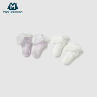 迷你巴拉巴拉婴儿袜子短款童袜儿童女网纱袜两双装透气宝宝短袜