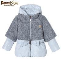 【3件2折 到手价:320】Pawinpaw宝英宝小熊童装冬款女童拼接棉服名媛风气质款厚外套