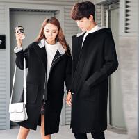 新款秋冬装男女连帽毛呢大衣韩版宽松休闲中长款情侣呢子风衣外套