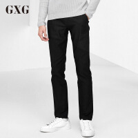 GXG休闲裤男装 秋季男士修身时尚潮流都市商务流行黑色休闲裤男