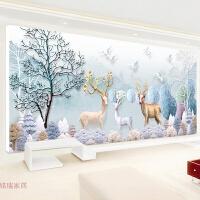 2018线绣新款十字绣客厅简约现代大幅欧式十字绣麋鹿鹿发财鹿满绣
