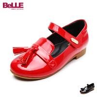 【159元2双】百丽Belle童鞋女童皮鞋17新款小童黑色流苏单鞋儿童公主鞋学生鞋 DE0295
