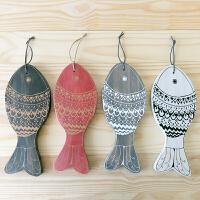创意木头新年布置年年有余福鱼挂件 客厅春节吉祥墙面装饰