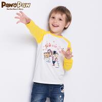 【3件4.5折 到手价:134】Pawinpaw卡通小熊童装秋男童长袖T恤中小童卡通休闲服
