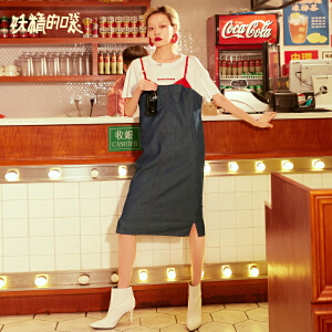 【低至1折起】妖精的口袋秋装新款女套装2018新款两件套秋时尚背带套装裙女