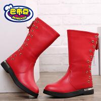 巴布豆童鞋 女童靴子2016冬季新款女童短靴皮靴公主鞋真皮马丁靴