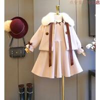 儿童毛呢大衣套装 童装2018冬季新时髦公主呢子外套+呢子背心裙 粉色