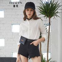 海贝2018春季新款女装上衣 翻领长袖系带单排扣纯棉白色衬衫百搭