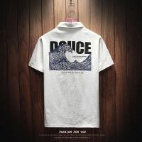 夏季社会小伙POLO衫男韩版修身帅气半袖大码印花短袖T恤男打底衫