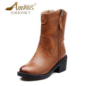 【冬季清仓】阿么复古粗跟英伦马丁靴中跟时尚中筒圆头骑士加绒短靴子女鞋冬靴
