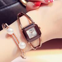 艾奇金米欧463 时尚潮流手链女表方形简约 女士学生石英手表