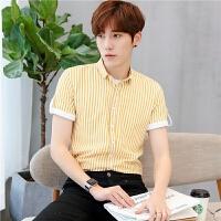 2018潮流男士短袖衬衫男韩版修身型男夏季休闲帅气条纹纯棉薄衬衣