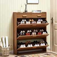 超薄翻斗鞋柜家用门口实木色简约现代带抽屉经济型门厅省空间鞋架