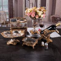 欧式水果盘套装客厅奢华茶几六件装饰家居饰品树脂果盘纸抽盒摆件