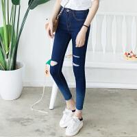 韩版高腰膝盖破洞弹力9分牛仔裤女紧身小脚个性渐变色九分铅笔裤
