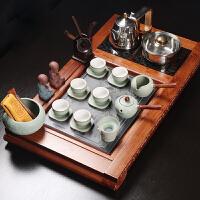 功夫茶具电磁炉整套装粗陶简约创意复古花梨木实木茶盘陶瓷泡茶壶
