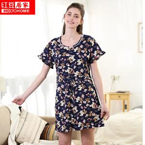 红豆居家女士睡衣春夏纯棉活性印染卡通印花短袖裙015 藏青