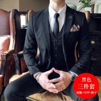 男士西装三件套修身韩版条纹小西服套装男正装英伦风新郎结婚礼服