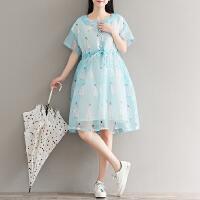 年夏季新款小清新女生文艺娃娃领印花雪纺连衣裙女清新显瘦裙