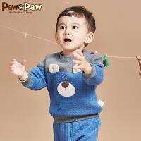 【3件2折 到手价:92】Pawinpaw宝英宝卡通小熊童装冬款男宝宝卫衣婴幼儿撞色拼接毛衣