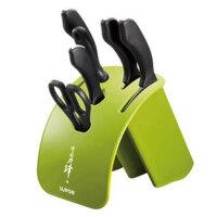 supor苏泊尔(SUPOR)刀具套装不锈钢七件套菜刀套装厨房家用刀具多用组合套刀T1332Q 芥末绿 七件套