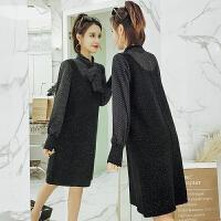 2018春秋季新款韩版女装长袖连衣裙圆点拼接假两件时尚小清新裙子