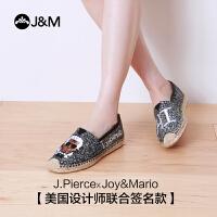 jm快乐玛丽帆布鞋夏季设计师亮片麻底个性浅口套脚低帮女鞋01278W